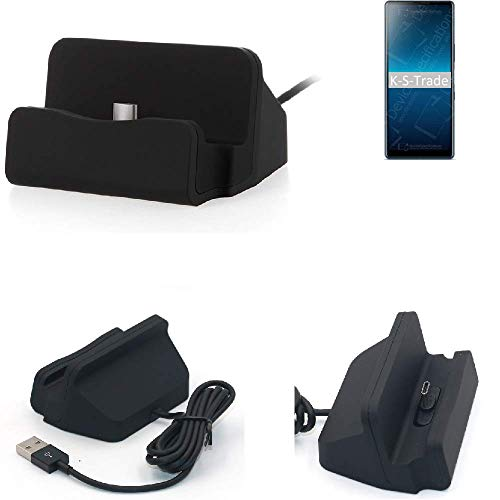 K-S-Trade Dockinsgstation Für Sony Xperia L4 Ladestation Dock Ladegerät Docking Station Inkl. USB Typ C Kabel Schwarz