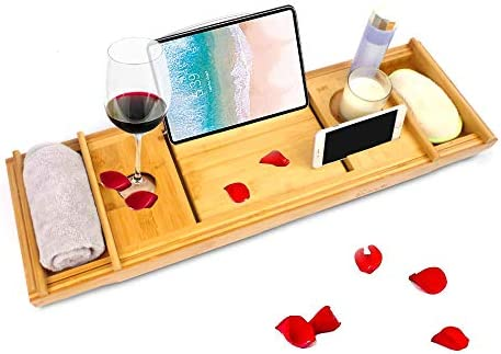 Bamboo Bathtub Caddy Tray with Wine Glass Slot and Book Holder and Smartphone Tablet Expandable product image