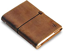 Refillable A5 Leather Binder Journal - 6 Ring Binder Organizer with Pockets - Hand-Crafted Genuine Leather Folio - Filofax Compatible. Mixed Loose Leaf Pages, 22cm x 15cm