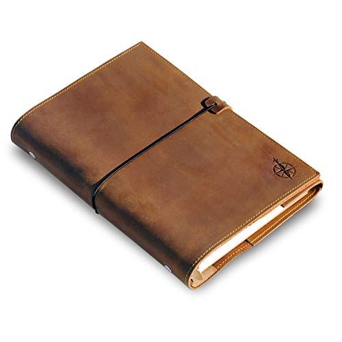 A5 6-Ring Leder Notizbuch nachfüllbar aus Echtleder für Erwachsene - Ringbuch perfekt zum Schreiben, Planen, Reisen, als Tagebuch oder Skizzenbuch - Gemischte Einzelblätter | 22 x 15 cm