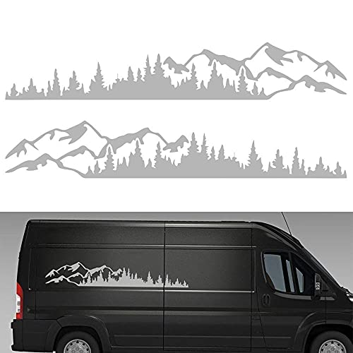 MOMOTOU 2 STÜCKE Universal Auto Auto Körper Wald Aufkleber Aufkleber Fenster Stoßstange Grafik Vinyl Aufkleber Dekoration für Wohnmobil Wohnwagen Auto LKW 190 × 32 cm