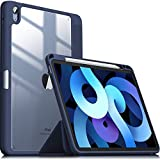 INFILAND Funda Case para iPad Air 4 Generación,iPad 10.9 Inch 2020 Cover Soporte,[Auto-Reposo/Activación Cubierta] [Trasera Transparente] [Carcasa Ligera] [Ultra Delgada Estuche],Azul Oscuro
