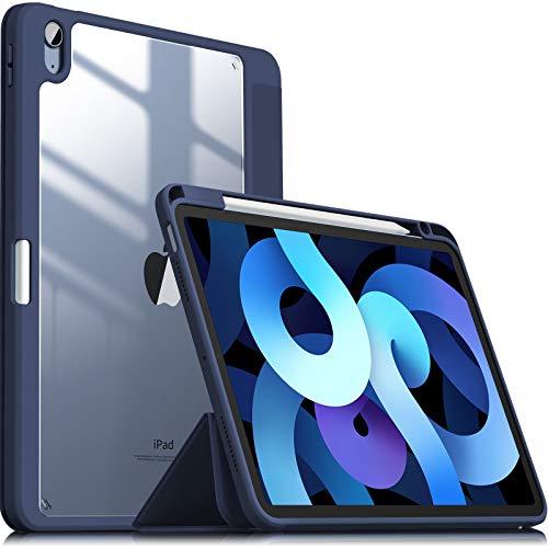 INFILAND Kompatibel mit Hülle für iPad Air 4. Generation 10.9 2020, iPad Air 2020 Hülle, TPU Stoßfest GrenzeundTransparent PC Clear Zurück Schutzhülle mit stifthalter (Bleu Marine)