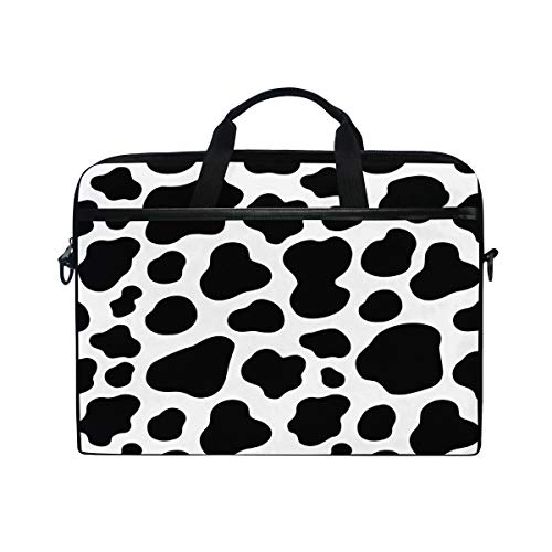 HAIIO Laptop Bag Case Geometric Cow Skin Animal Print Computer Protector Bag 14-14.5 inch Travel Briefcase with Shoulder Strap for Women Men Girl Boys