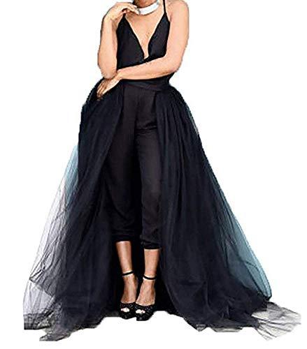 Women Maxi Long Tulle Skirt Mesh Detachable Overlay Overskirt 9 Layers High Waist for Bridal Wedding Party Black