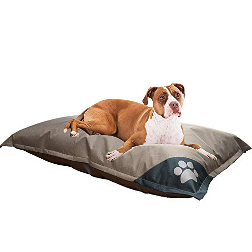 Trading Innovation Extra Large Waterproof Dog Bed Cushioned Mattress with Removable Zip Cover   Soft & Cosy   Cute Design & Comfortable Base   Machine Washable Easy to Clean Pet Bed & Cover (Brown)