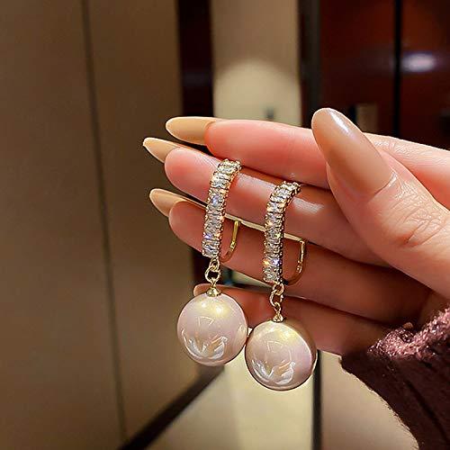 LIEQUAN Pendientes de Perlas de Aguja de Plata Pendientes de Temperamento Pendientes de Mujer(Blanco)