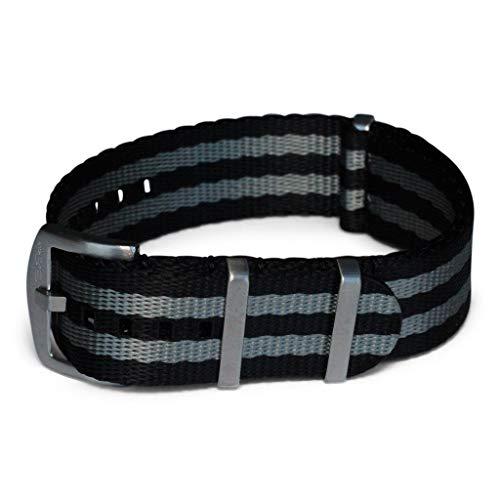 AlphaShark by BluShark Luxury Seat Belt Nylon Watch Strap 22mm Bond Black/Gray