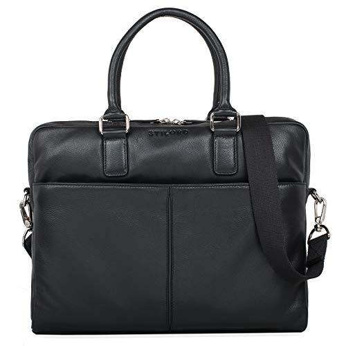 STILORD 'Emilio' schoudertas leder vintage grote schoudertas elegante handtas voor kantoorwerk laptop 13,3 inch aktetas DIN A4, Kleur:zwart