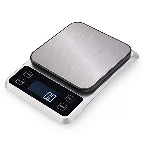 Báscula de cocina digital; báscula de acero inoxidable de con opción de gramos y onzas para hornear y cocinar,1kg/0.1g