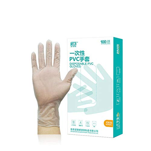 HLOEC Wegwerphandschoenen - 100 stuks lange latex wegwerp nitril handschoenen zwart antislip poeder latex handschoenen, transparant, l