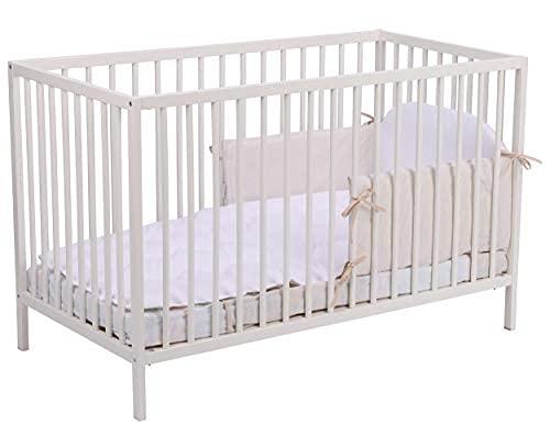 Homatex, Baby Start II, Cuna de madera en masa con certificado FSC, 60x120 cm, cama de madera de haya natural con un lado desmontable para ninos mayores,ecológico, color blanco pintado