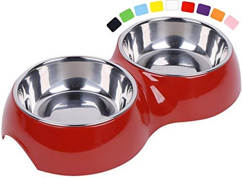 DDOXX Doppel-Fressnapf, rutschfest | viele Farben & Größen | für kleine & große Hunde | Futter-Napf Katze doppelt | Hunde-Napf Hund | Katzen-Napf Edelstahl-Napf | Melamin-Napf | Rot, 2 x 160 ml
