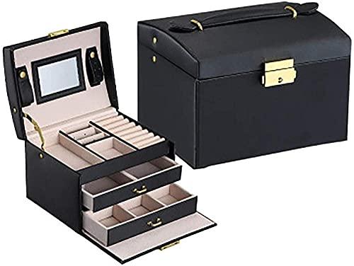 Oevina Caja de Reloj Gabinete de Reloj Mecedo Doble cajón Caja de joyería Pendientes de Cuero Anillo Organizador de Collar con Espejo y Bloqueo para baño Dormitorio Dormitorio Negro