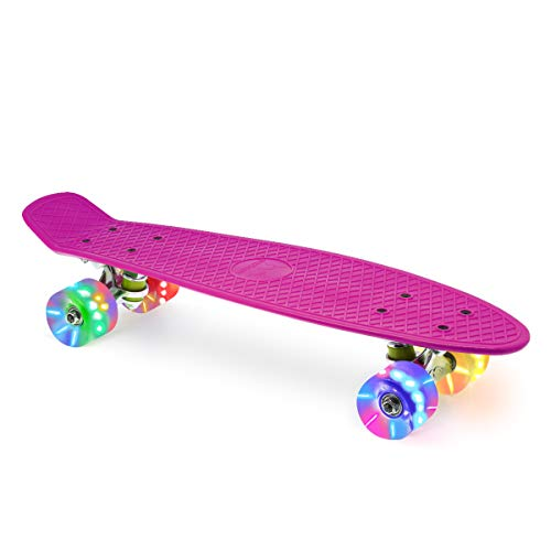 Merkapa 22' Complete Skateboard with Colorful LED Light Up Wheels for Beginners (Pink)