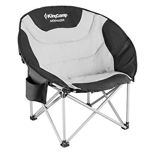 KingCamp Moon Saucer Leisure Heavy Duty Steel Camping Chair Padded Seat (Grey with Cup Holder and Cooler Bag) (Grey)