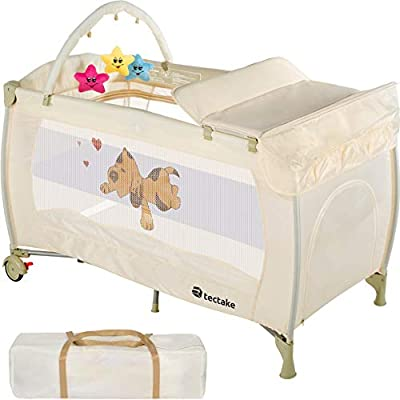 TecTake New Portable Child Baby Travel cot Bed playpen with entryway -Different Colours-