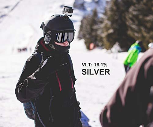Unigearスキーゴーグルダブルレンズ曇り止めスキーゴーグルスノーボードゴーグル100%UVカットフィット感がいいスノーゴーグル9色雪山やスキーなど用大人青少年男女兼用SkidoX1(③シルバーグレーレンズVLT16.13%)