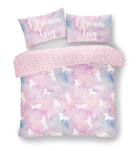 FAIRWAYUK Kids Duvet Cover Set Single Size with Pillow Case, Unicorn Dream Quilt Bedding 135x200cm, Reversible Bed, Pink (Single)