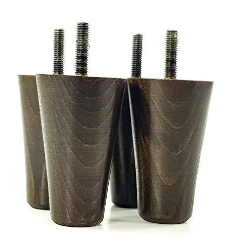 PKC2117 - Patas de madera para muebles (4 unidades, M8 (8 mm) de alto, 80 mm de alto, varios colores, redondas, de repuesto, para taburetes, sillas, sofás, armarios, camas)