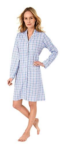 NORMANN-Wäschefabrik Damen Nachthemd mit Knopfleiste, kariert - Single Jersey - zum durchknöpfen 281 213 90 152, Farbe:hellblau, Größe2:48/50