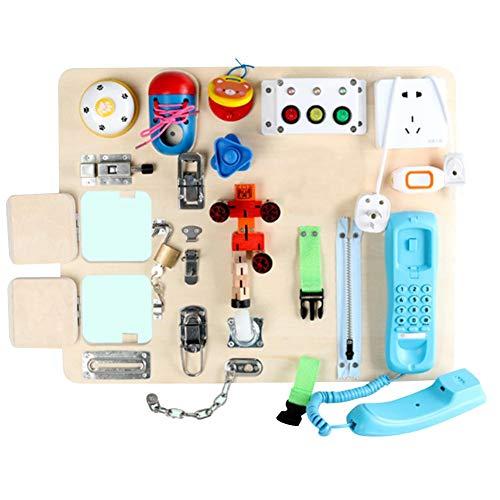 Spielbrett Mit Schlössern Und Riegeln | Montessori Lernbrett Verschlüsse Aus Holz | Multifunktional Pädagogisch Baby Feinmotorik Übungsspielzeug