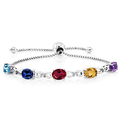 Gem Stone King 925 Sterling Silver Build Your Own Personalized 5 Birthstones Lab Grown Diamond Women's Tennis Bracelet