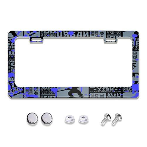 MEVZKTN Mustang Horse Diamond Plate License Plate Frame, Novelty Car Tag Frame