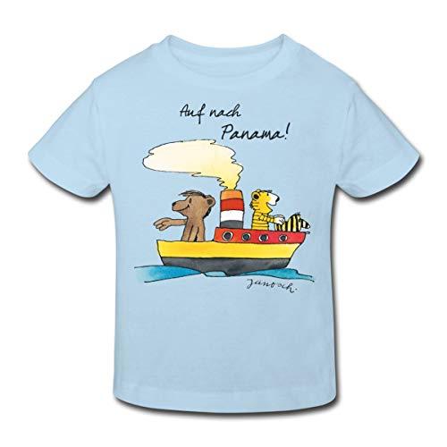 Janosch Tiger Und Bär Auf Nach Panama Kinder Bio-T-Shirt, 122/128 (7-8 Jahre), Hellblau
