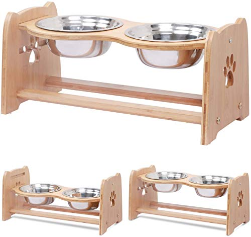 X-ZONE PET Raised Pet Bowls for Cats and Dogs, Adjustable Bamboo Elevated Dog Cat Food and Water Bowls Stand Feeder with 2 Stainless Steel Bowls and Anti Slip Feet (Height 7.9')
