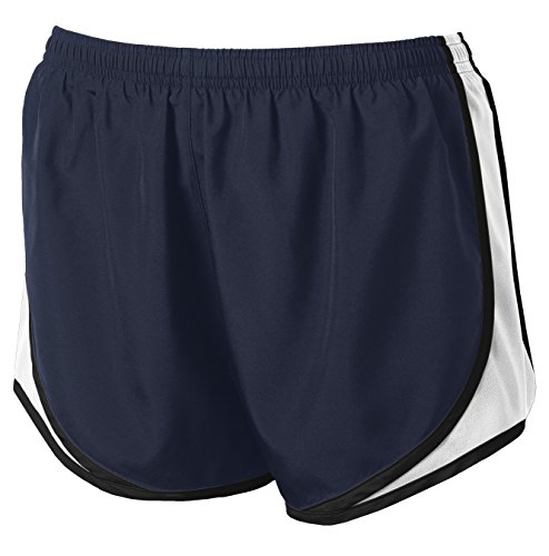 Ladies Moisture-Wicking Track & Field Running Shorts. True Navy/ White/ Black,Medium