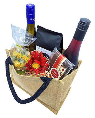 Präsentkorb Leckereien gefüllt in einer Geschenktasche aus Jute