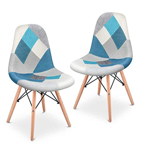 Mc Haus SENA Patchwork - 2er Set Stühle Esszimmer Vintage-Patchwork-Turm mehrfarbig blau gepolsterte Lounge-Sessel Turmdesign 49x46x84cm