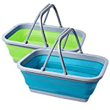 Playinyard 2 Pack Collapsible Sink with Handle, 2.37 Gal / 9L Foldable Wash Basin for Camping, Outdoor, Washing Dishes, Kitchen, Picnic, Hiking and Home (Blue & Green)