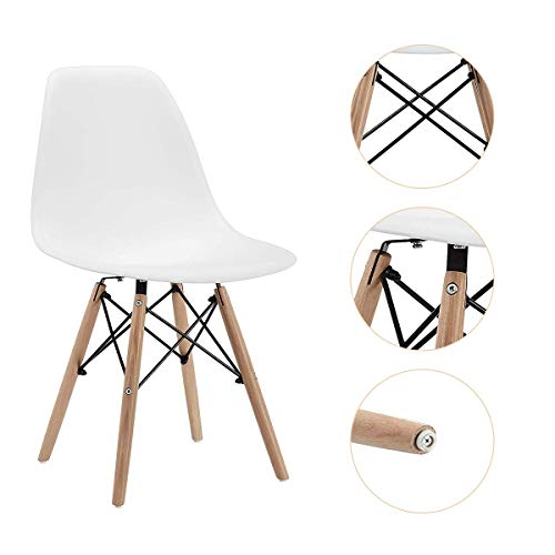 CangLong Dining Set of 2, Modern Mid-Century Side Chair with Natural Wood Legs, White