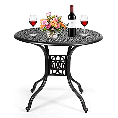 """Giantex Patio Table with Umbrella Hole, Outdoor Bistro Table, Round Cast Aluminum Dining Table for Backyard, Garden or Porch, 36"""" Diameter and 30"""" Height (Black)"""