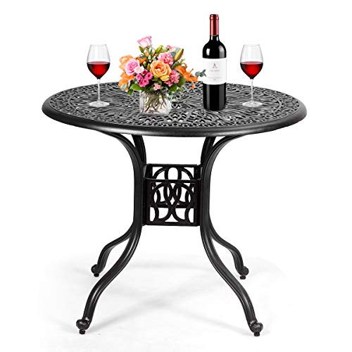 Giantex Patio Table with Umbrella Hole, Outdoor Bistro Table, Round Cast Aluminum Dining Table for Backyard, Garden or Porch, 36' Diameter and 30' Height (Black)