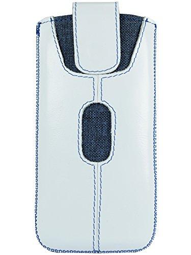 OrLine Handyhülle Ledertasche für Alcatel Idol 4S Tasche Echtleder Etui (Lasche mit Rückzugfunktion Ausziehhilfe mit Einer Kreditkartenfach) Schutzhülle Handytasche Hülle Cover Hülle Etui Slim