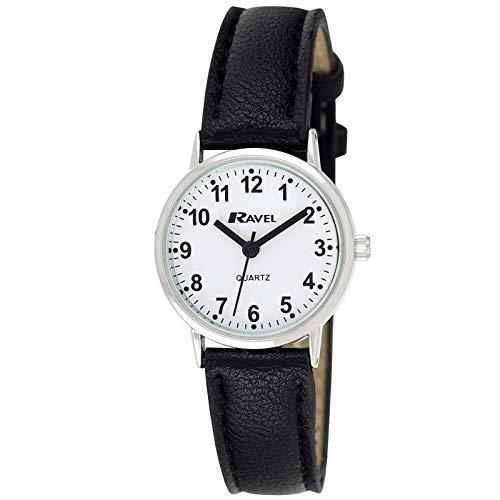 Ravel - Reloj clásico para mujer, esfera de números y tono negro/plateado.