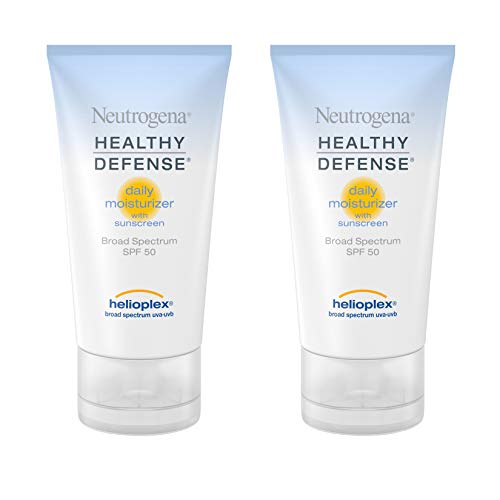 Neutrogena Healthy Defense Daily Moisturizer with SPF 50 and Vitamin E, Lightweight Face Lotion with SPF 50 Sunscreen and Antioxidants, Vitamin C & Vitamin E, 1.7 fl. oz (Pack of 2)