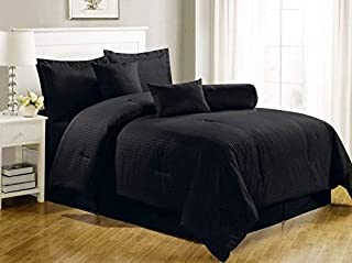 Luxury 2724296900247 Self Stripe Set Of 4 Piece Bedding Set, Cotton, King, Black, H47.2 x W66.8 x D31.6 cm