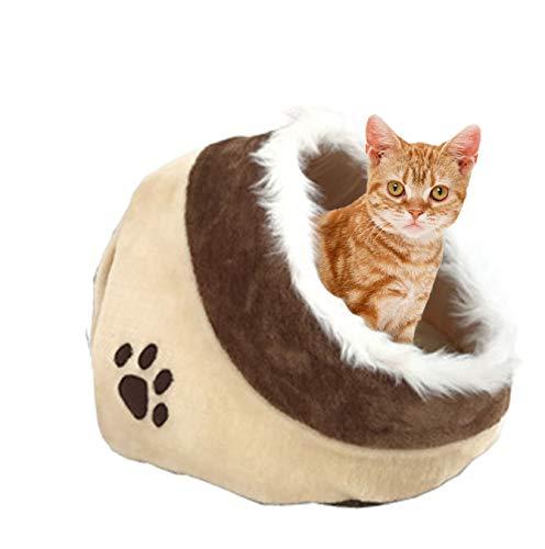 XZHH Slaaphol van wol, voor katten, huisdieren, kleine huisdieren, beige, kattenbed, winter, kat, 41 x 38 x 26 cm