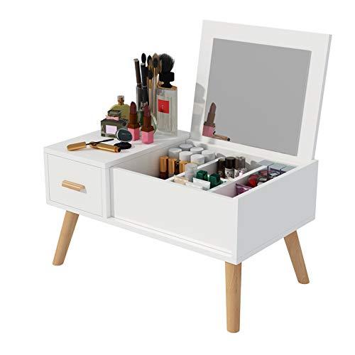 AMY-XCQ Tocador, pequeño ventanal, Sentado en el Suelo, Lata de Maquillaje, Mesa de Centro pequeña Individual, Muebles de Dormitorio, Estilo Sencillo,A,80CM