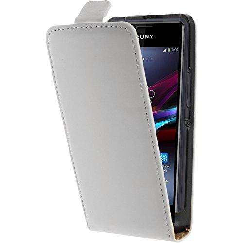 PhoneNatic Kunst-Lederhülle kompatibel mit Sony Xperia E1 - Flip-Hülle weiß + 2 Schutzfolien