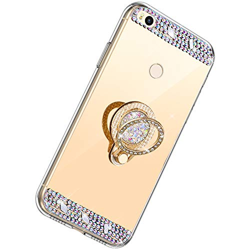Herbests Compatible avec iPhone XS Max Coque Etui avec Bling Glitter Diamant Strass Anneau Ultra Mince Coque pour iPhone XS Max,Or Rose