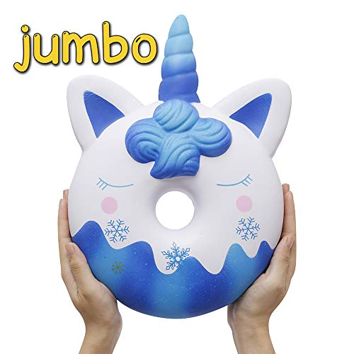 Anboor 13 Pulgadas Squishies Unicornio Gigante Donut Kawaii Suave Lento Levantamiento Jumbo Donut perfumado Squishies Alivio del estrés Juguetes para niños Navidad