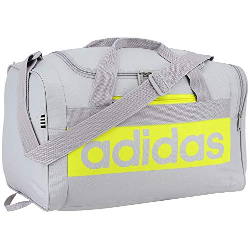 adidas Court Lite Duffel Bag, Halo Silver/Acid Yellow, One Size