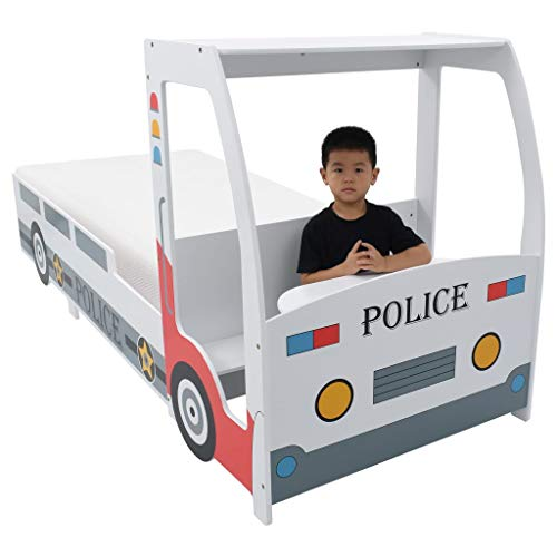 vidaXL Kinderbed Politieauto met 7 Zone H2 Matras 90x200 cm Bed Peuterbed