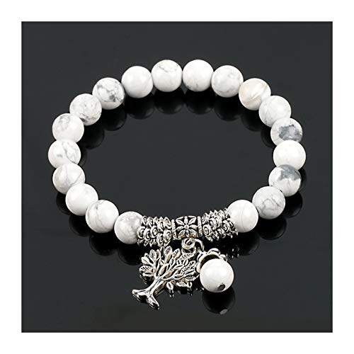 XYBB Fashion Round White Stone Mala Beads Tree Of Life Bracelets For Men Tibetan Yoga Power Energy Bracelet