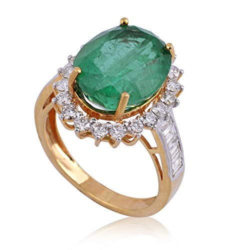 Spectrum Jewels - Anillo de cóctel con piedras preciosas de esmeralda, 4,25 quilates, oro amarillo de 18 quilates, joyería hecha a mano para niñas y mujeres